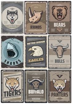 Cartazes de animais coloridos vintage com lobo rinoceronte urso tubarão águia touro tigre búfalo cabeças de pantera isoladas