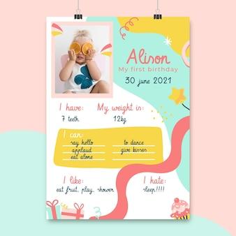 Cartazes de aniversário infantis abstratos