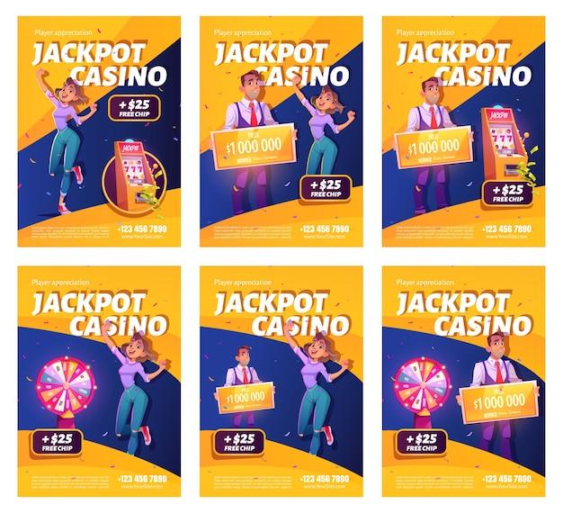Cartazes de anúncios de prêmios de cassino de jackpot