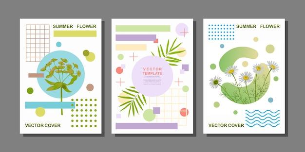 Cartazes de arte com flores e objetos geométricos composições de moda da natureza para cartões comemorativos