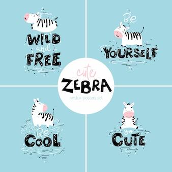 Cartazes de berçário bonito conjunto com zebras. animais selvagens com diferentes personagens e letras. ilustração isolada plana dos desenhos animados em estilo escandinavo.