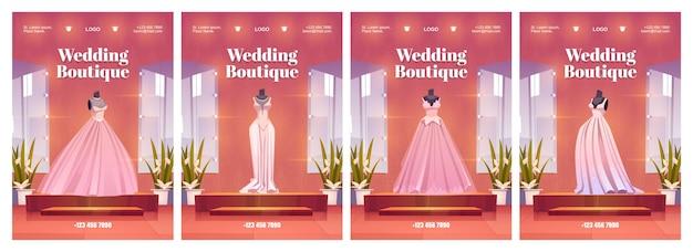 Cartazes de boutique de casamento com vestidos de noiva e acessórios luxuosos