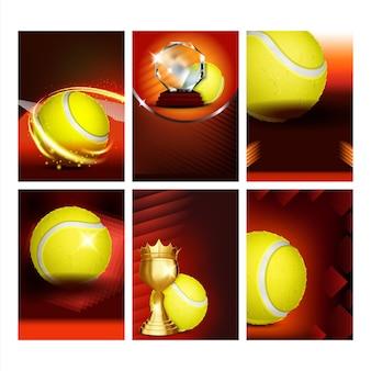 Cartazes de cartões promocionais esportivos de tênis definir vetor. bola amarela, raquete e cálice de ouro, coleção de itf da federação internacional de tênis de diferentes banners. ilustrações de modelo de conceito de jogo esportivo