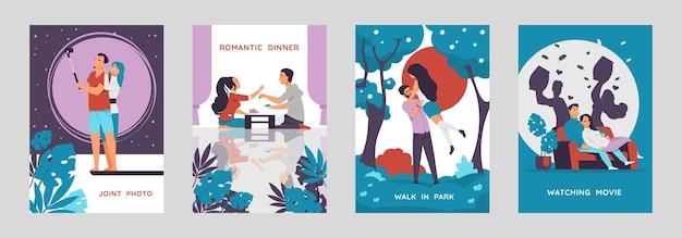 Cartazes de casais românticos. personagens de desenhos animados caminhando e curtindo o tempo juntos, cartões-postais com cenas de amor. coleções de vetores verticais ilustram a imagem de menino e menina felizes em um encontro