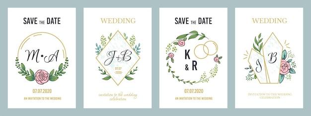 Cartazes de casamento. modelo de cartão de convite de luxo com monogramas florais e elementos de design minimalista. bandeiras pastel modernas de ilustração vetorial convidam para férias