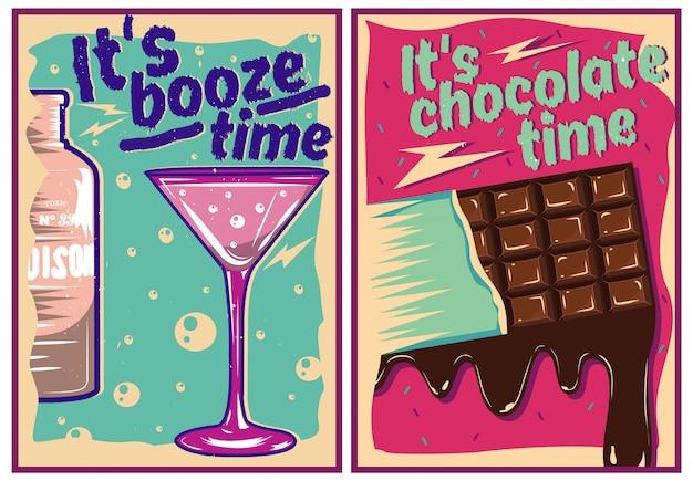 Cartazes de chocolate e coquetel em estilo vintage