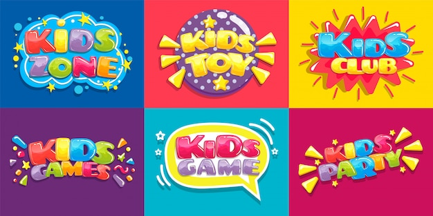 Cartazes de clube de crianças. diversão de brinquedos jogando zona, jogos infantis festa e área de jogo cartaz ilustração conjunto