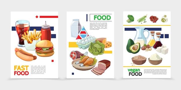 Cartazes de comida de desenho animado