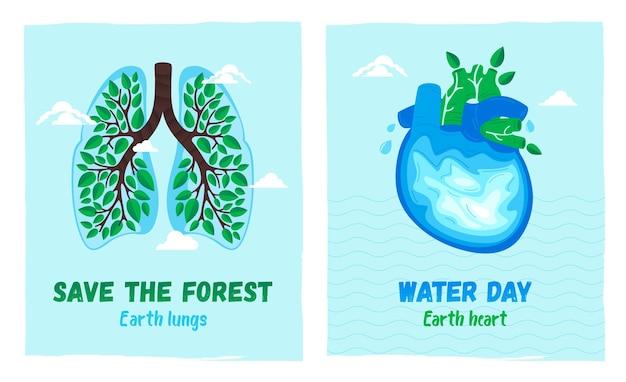 Cartazes de conceito para o dia da terra e o dia da água. salve os fores