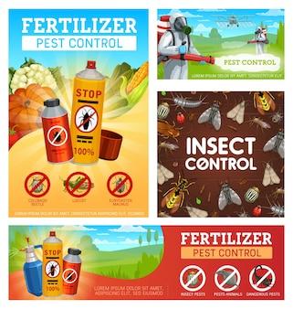 Cartazes de controle de pragas de fertilizantes