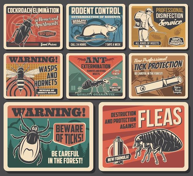 Cartazes de controle de pragas e proteção contra insetos