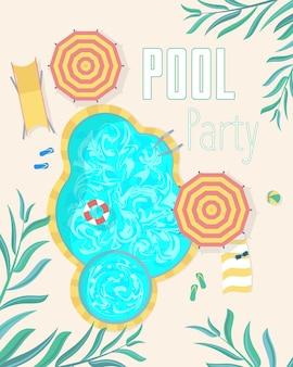 Cartazes de convite de festa na piscina de verão cartão de férias relaxamento praia evento vista superior. ilustração vetorial