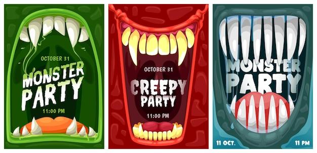 Cartazes de convite de vetor de festa de halloween com dentes e bocas de monstro dos desenhos animados. truque ou trate de sorrisos de terror de vampiros, zumbis e demônios alienígenas na borda da moldura com presas assustadoras, línguas e lodo verde