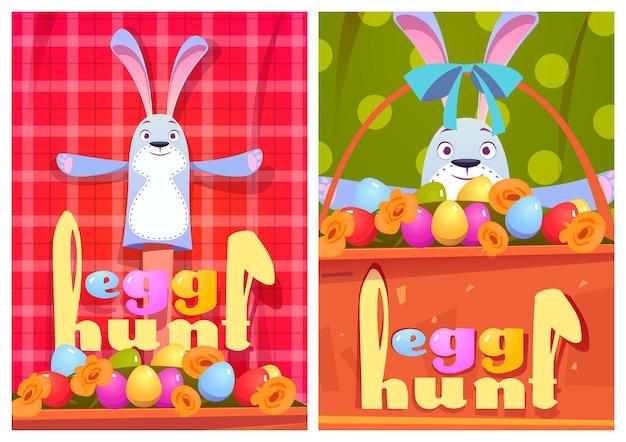 Cartazes de desenho animado de caça ao ovo com coelhos e ovos