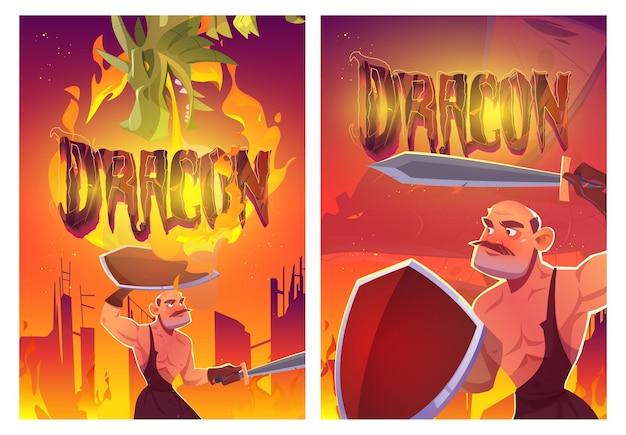 Cartazes de desenho animado de cavaleiro de ataque de dragão