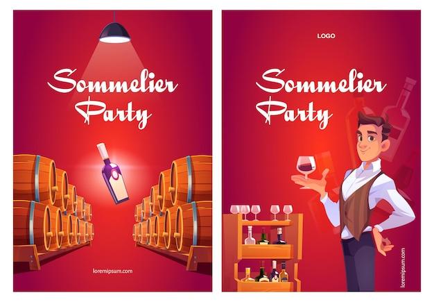 Cartazes de desenhos animados da festa de sommelier com um homem na loja de vinhos segurando um copo de vinho