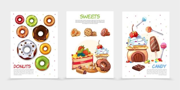 Cartazes de doces de desenho animado