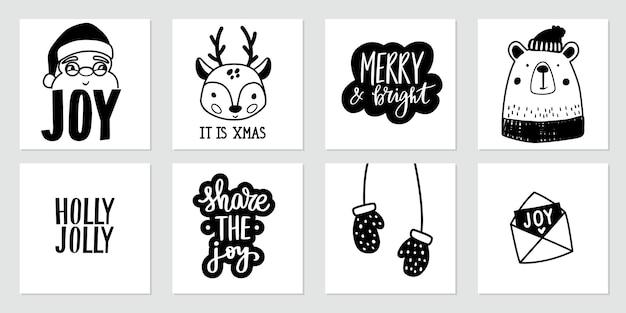 Cartazes de doodle de natal com papai noel, cervo bebê, urso fofo, luvas e citações de letras