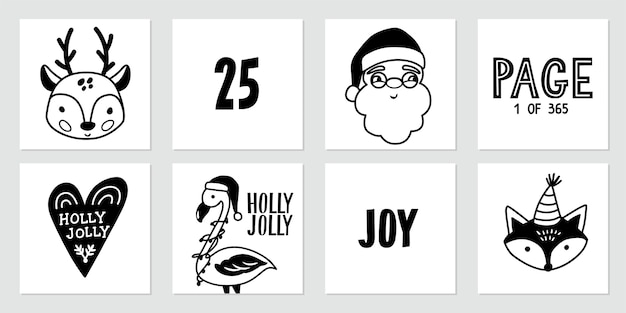 Cartazes de doodle de natal com papai noel, veado bebê, raposa bonita, flamingo e citações de letras. feliz ano novo e coleção de natal no estilo de desenho. preto e branco.