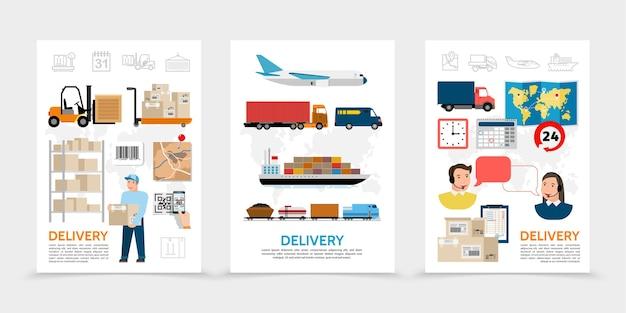 Cartazes de entrega plana