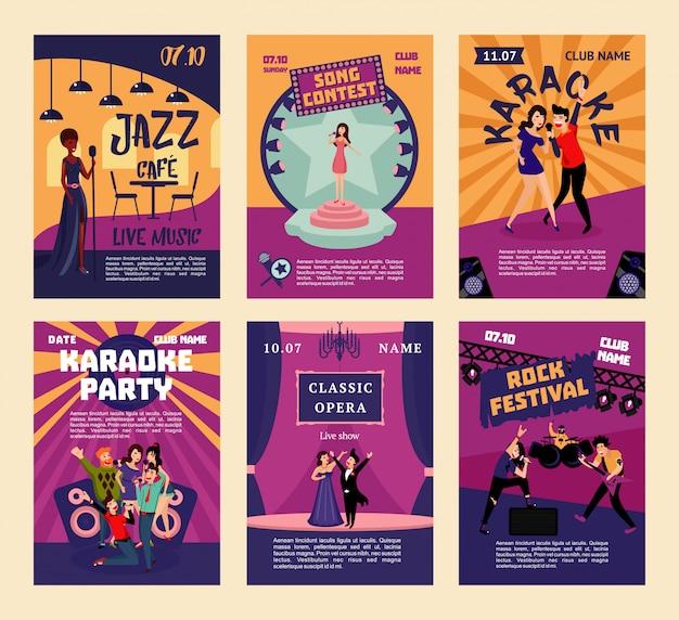 Cartazes de entretenimento musical e karaokê