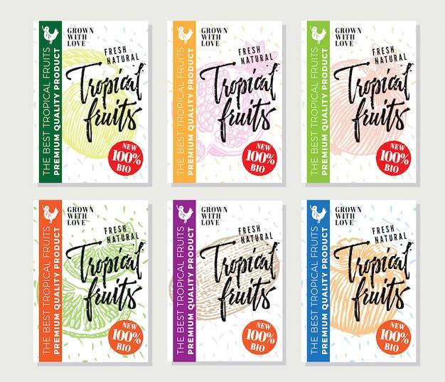 Cartazes de esboço de frutas tropicais