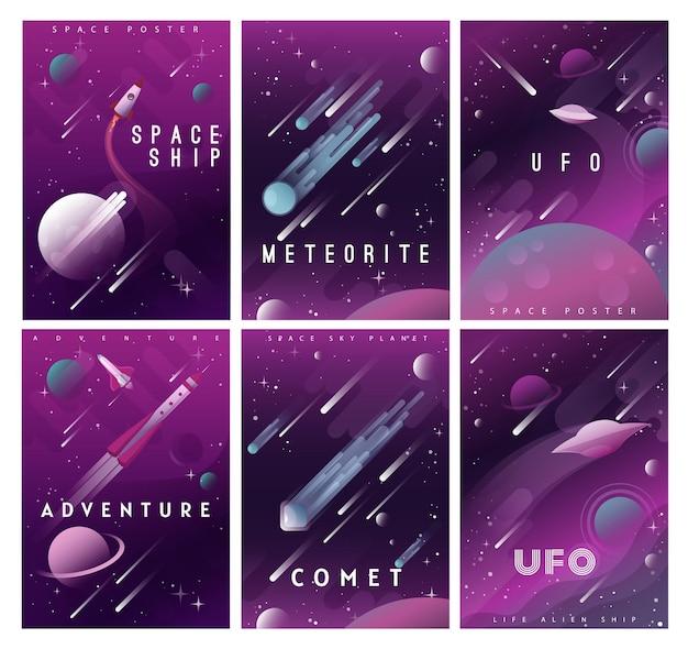Cartazes de espaço com planetas planos