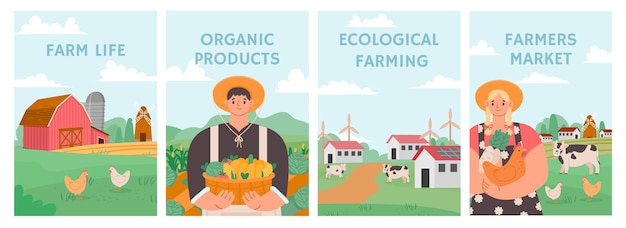 Cartazes de fazenda. campo de agricultura, agronomia e conceito de estoque. os agricultores cultivam alimentos naturais orgânicos. mercado agrícola, conjunto de vetores de negócios agrícolas