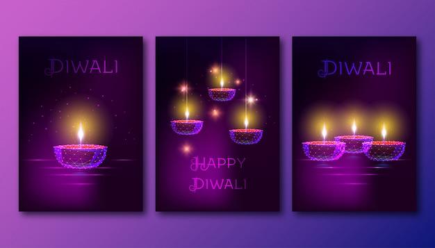 Cartazes de feliz diwali com futurista brilhante diya de lâmpada de óleo poligonal baixo sobre fundo roxo escuro.
