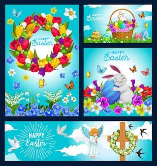 Cartazes de feliz feriado de páscoa com coelho abraçando um ovo pintado em um prado verde