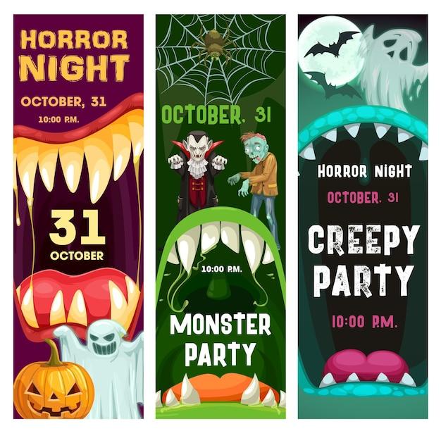 Cartazes de festa de halloween com personagens de monstros