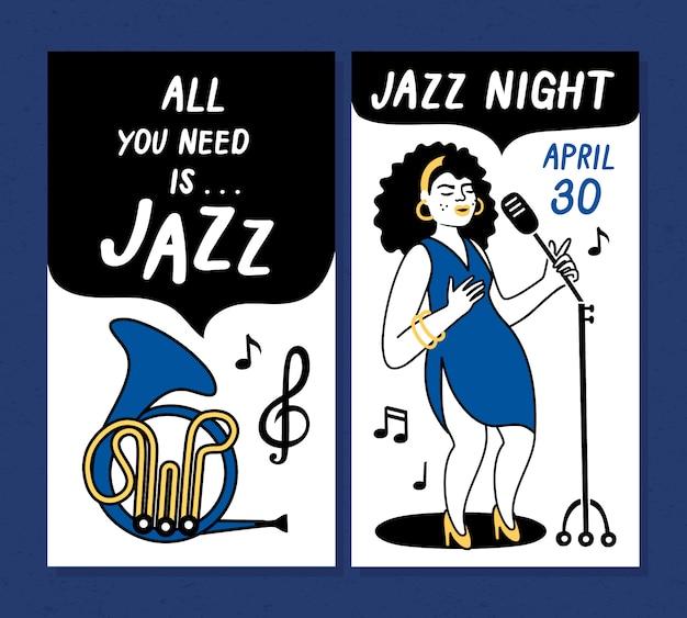Cartazes de festival de música jazz e modelos de design de banner
