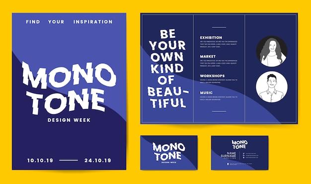 Cartazes de folheto e modelo de cartão de visita