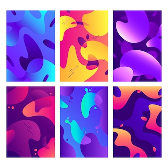 Cartazes de formas líquidas, forma fluida de cor moderna, cores difusas abstratas e fundo de gradiente de moda