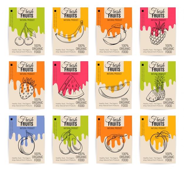 Cartazes de frutas desenhadas mão