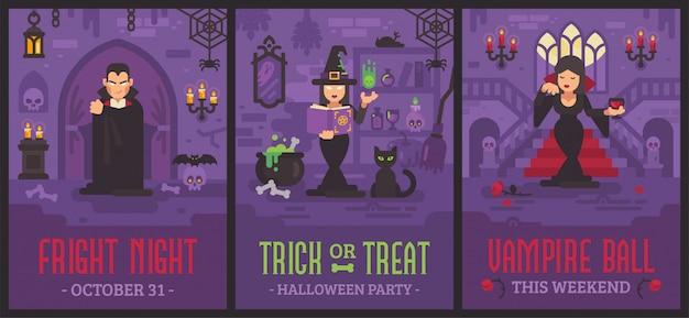 Cartazes de halloween com vampiros e bruxas