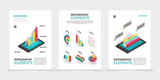Cartazes de infográfico de negócios isométricos