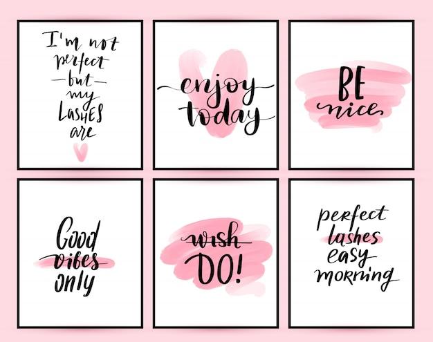 Cartazes de moda com citações positivas.