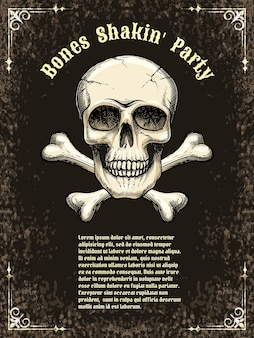 Cartazes de modelo para a festa, halloween. crânio e ossos cruzados. ilustração vetorial