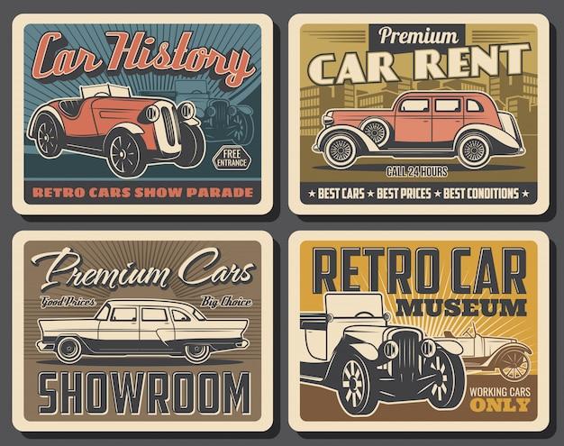 Cartazes de museu de carro retrô