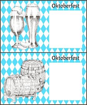 Cartazes de oktoberfest conjunto barril de cerveja e ale glass