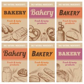 Cartazes de padaria. pão fresco, esboço espiga de trigo e ingredientes naturais de sabor conjunto desenhado à mão.