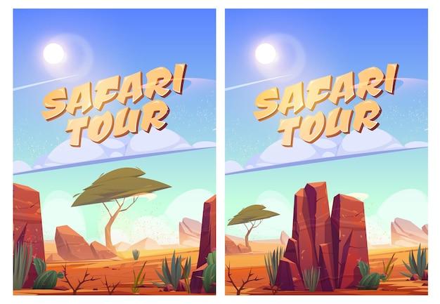 Cartazes de passeios de safári com paisagem de savana africana