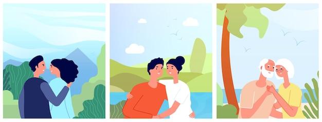 Cartazes de pessoas apaixonadas. pessoa amorosa, romântica jovem e velha abraçando divertido homem. modelo de história de vetor de dia dos namorados sonho 14 de fevereiro. amor de pessoas, romance, ilustração de garota estandarte e namorado