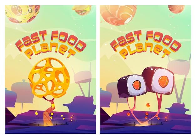 Cartazes de planeta de fast food com paisagem de fantasia com sushi e árvores de queijo, pizza e hambúrgueres no céu