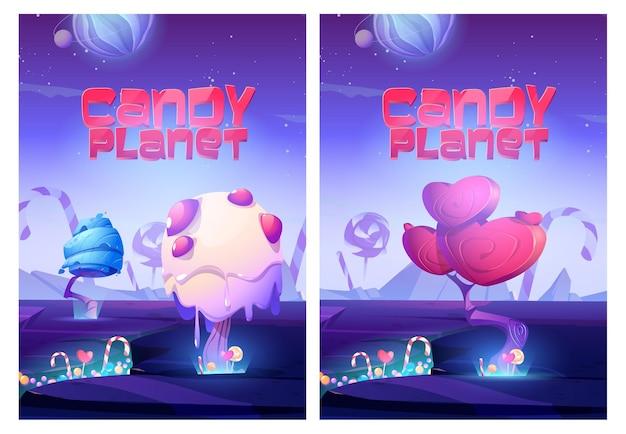 Cartazes de planetas doces com árvores incomuns de creme e caramelo em formato de coração