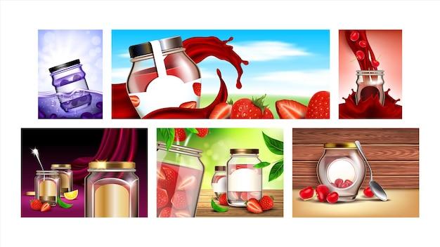 Cartazes de promoção criativa de sobremesa de geléia definir vetor. banners de marketing de publicidade da coleção de frascos de geléia em branco, morango, cereja e mirtilo. ilustrações de modelo de conceito de cor de marmelada de frutas