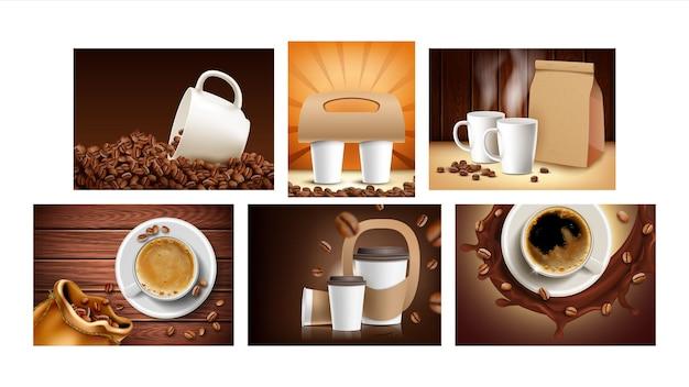 Cartazes de promoção de coleção de café definir vetor. grãos de café e copos em branco, pacote e suporte de papel para banners publicitários de bebida quente de transporte. ilustrações de modelo de conceito de cor de estilo