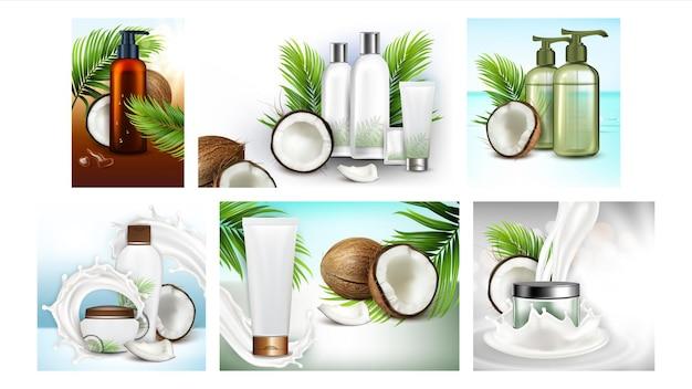 Cartazes de promoção de cosméticos de coco definir vetor. frascos em branco de óleo e shampoo, creme facial e tubos de máscara de cabelo banners de publicidade da coleção de cosméticos naturais. ilustrações de modelo de conceito de cor