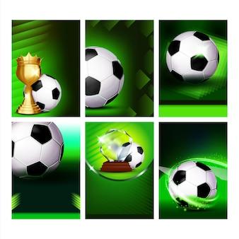 Cartazes de promoção de panfleto de evento futebol esporte definir vetor. esfera de futebol e taça de ouro. anúncio das ilustrações do modelo de jogo esportivo da federation internationale football association